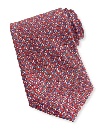 Interlock-Gancini Woven Tie, Red/Blue