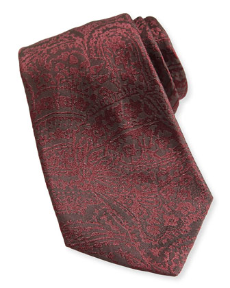 Burnout-Paisley Silk Tie, Burgundy