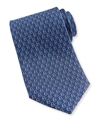 Interlock-Gancini Woven Tie, Navy
