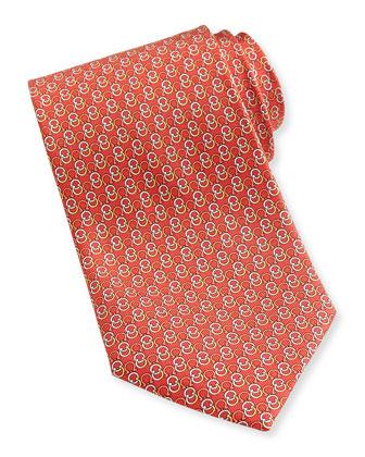 Interlock-Gancini Woven Tie, Red