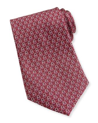 Interlock-Gancini Woven Tie, Bordeaux