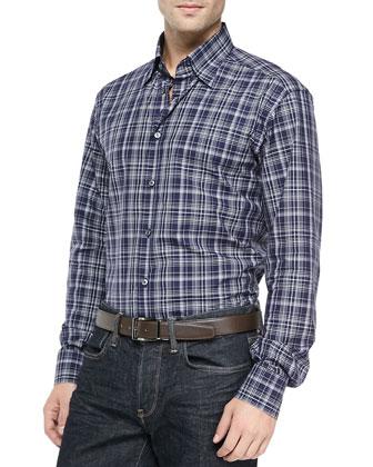 Plaid Woven Shirt, Navy