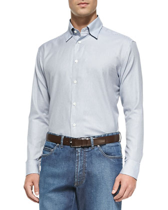 Long-Sleeve Mini Houndstooth Shirt & Stretch-Denim Blue Jeans