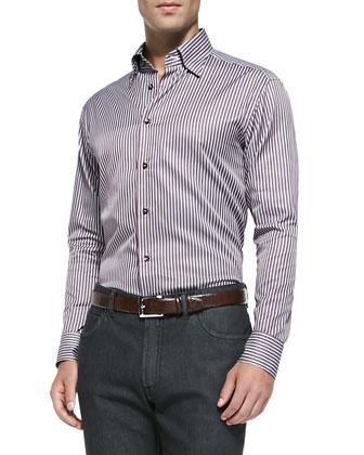 Stripe Woven Shirt, Red