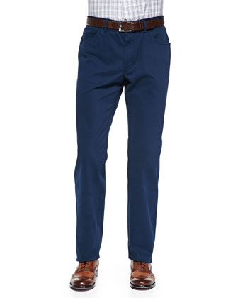 Five-Pocket Cotton Trousers, Navy