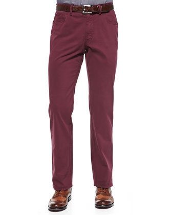Five-Pocket Cotton Trousers, Red