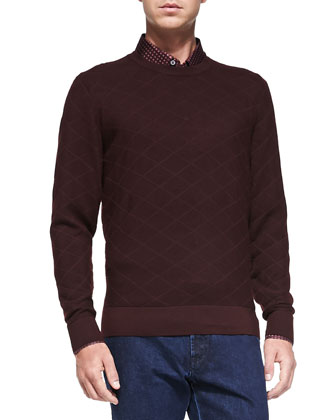 Diamond-Jacquard Crewneck Sweater, Scarlet