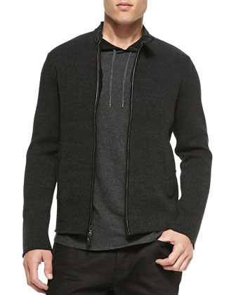 Two-Way Zip Moto Sweater, Charcoal