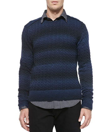 Space-Dyed Cable-Knit Sweater, Navy