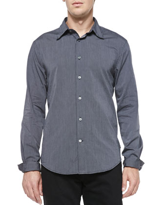 Fine-Stripe Button-Down Shirt, Navy