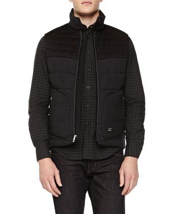 Harris Quilted Tweed Vest, Charcoal