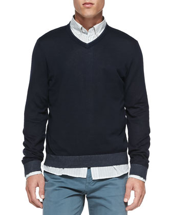 Tipped V-Neck Sweater, Navy