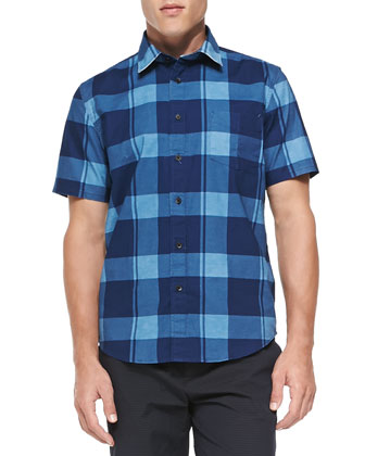 Short-Sleeve Check Button-Down Shirt, Blue