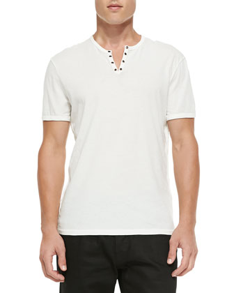 Short-Sleeve Split-Neck Henley, Salt