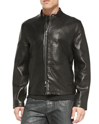 Lace-Stitched Leather Jacket, Black