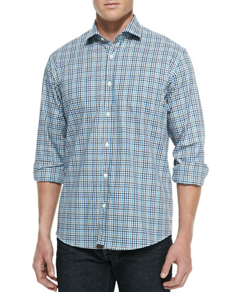 Small-Check John T Shirt, Blue