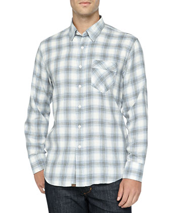 Long-Sleeve Checkered Walland Shirt, Cream/Light Blue