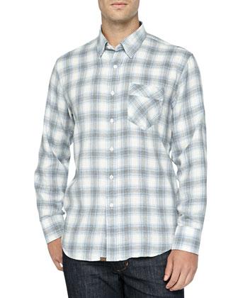 Long-Sleeve Checkered Walland Shirt, Cream/Light Blue