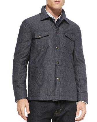 Quilted Devon Shirt Jacket, Blue