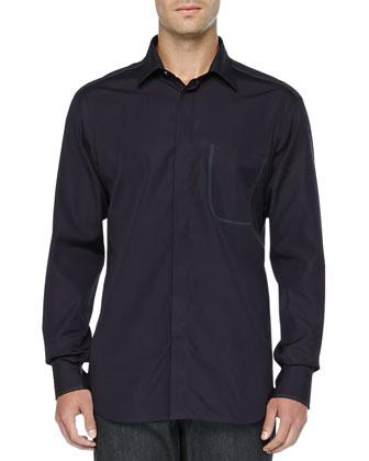 Long-Sleeve Solid Woven Shirt, Maroon