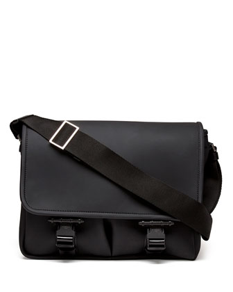 Rubber Buckled Flap Messenger Bag