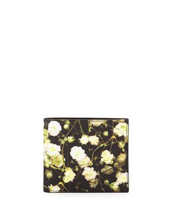 Floral-Print Bi-Fold Wallet, Black