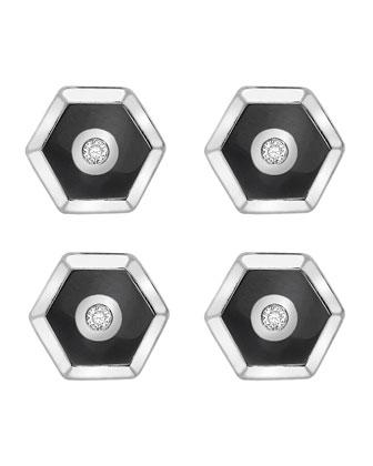 Hexagonal Cuff Links & Tuxedo Studs Set