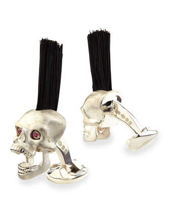 Sterling Silver Mohawk Skull Cuff Links