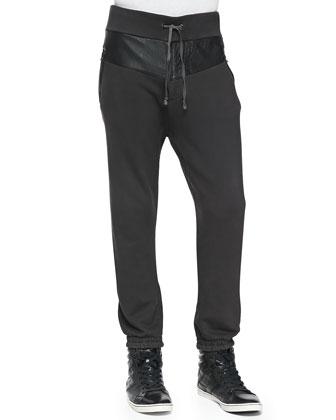 Leather-Panel Sweatpants