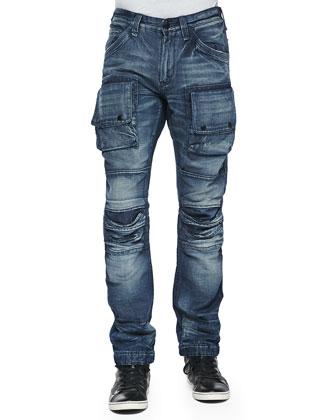 Utility Cargo Biker Denim Jeans, Blue
