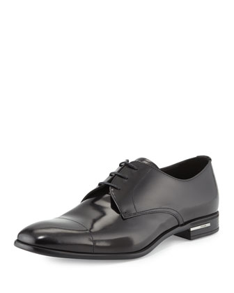 Basic Cap-Toe Derby Shoe, Black