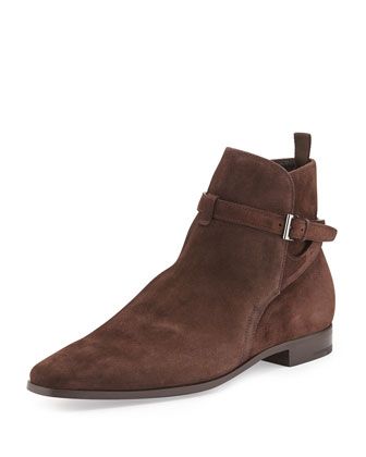 Suede Buckled Wrap Boot