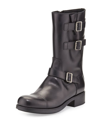 Triple-Buckle Leather Moto Boot