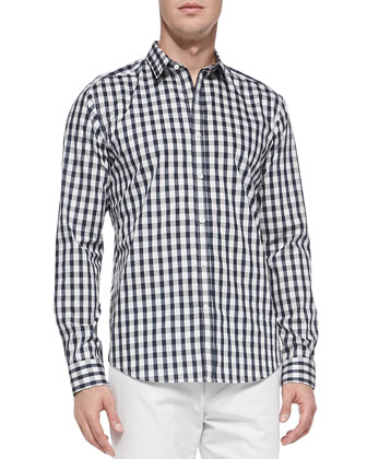 Zack PS Long-Sleeve Abstract Check Shirt, Navy
