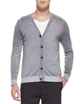 Ake Space-Dyed Cardigan, Gray
