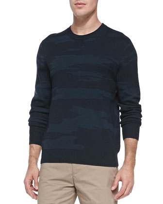 Asli Camo-Print Sweater, Navy