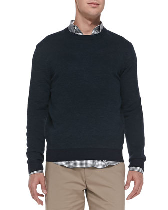 Skene Birdseye-Knit Sweater, Navy