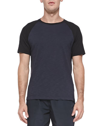 Jordun Short-Sleeve Ringer Tee, Navy/Black