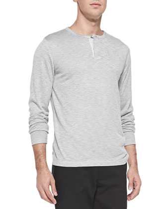 Billy H Long-Sleeve Henley, Gray