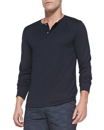 Billy H Long-Sleeve Henley, Navy