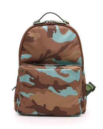 Men's Camo Nylon Backpack, Camel