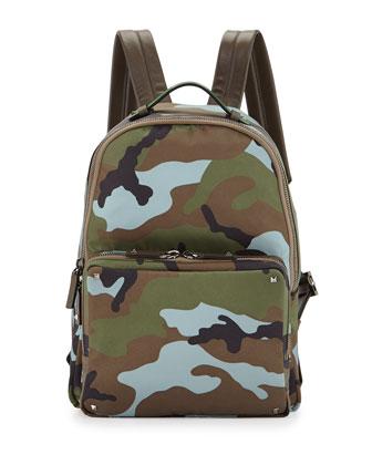 Men's Camo Nylon Backpack, Green