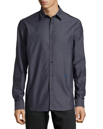 Long-Sleeve Dress Shirt, Charcoal