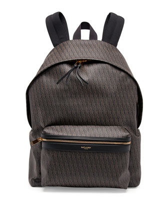 Men's YSL Logo-Printed Leather Backpack, Black