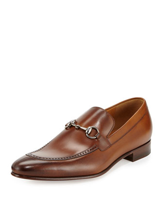 Leather Horsebit Brogue Loafer, Cuir