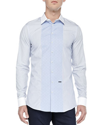 Poplin Shirt with Contrast Panels, Multi Blue