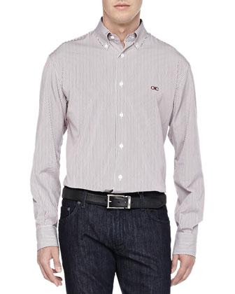 Bengal-Stripe Button-Down Shirt & Dark-Wash 5-Pocket Jeans