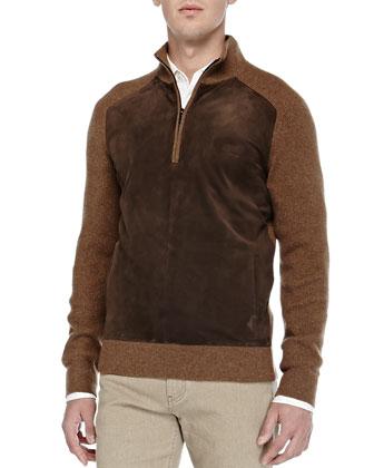 Suede & Cashmere Half-Zip Sweater, Cumin Mela