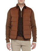 Quilted Master Storm System Vest, Brown