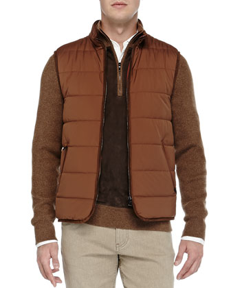 Quilted Master Storm System Vest, Suede/Cashmere Half-Zip Sweater, Solid ...